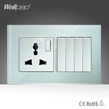 Hot 10A Universal Socket and 4 Gang 1 Way Switch Wallpad 146*86mm White Glass 4 Push Button Switches and Socket Free Shipping