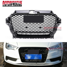 For Audi A3 S3 8V 2015-2017 RS Style Front Hood Shiny Black Mesh Henycomb Bumper Grille Cover Racing Grills Guard Badge Sticker