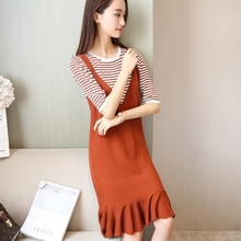 49 new autumn wear long dress sweater off in two pieces of cultivate morality in the round collar sleeve F1969(China)