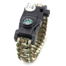 New Product SOS Bracelet LED Lamp Emergency Survival Bracelet Outdoor Camping Compasses Multi-Function First Aid Kits(China)