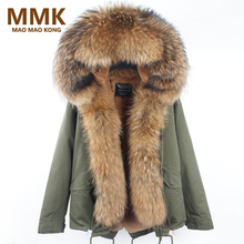 Winter Coat Women 2017 New Army Green Camouflage Parkas With Big Large Real Raccoon Fur Collar Hooded Thick Warm Outwear Brand(China)