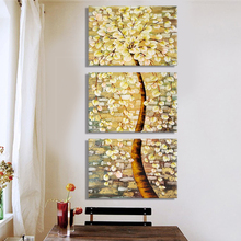 Oil Painting Canvas Modern Abstract Shining Rich Trees Decorative Wall Art Wall Pictures For Living Room Home Decoration 3pcs(China)