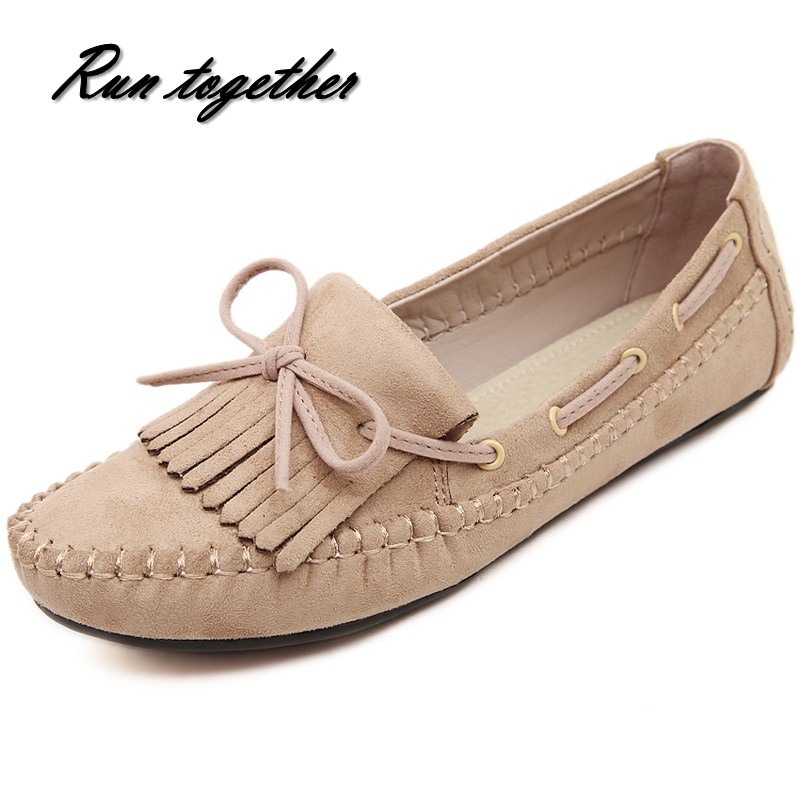 New woman casual flat shoes woman round toe loafers fashion tassel bowtie slip on peas lazy boat shoes Comfortable breathable<br><br>Aliexpress
