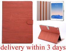 1pcs Colorful Korean style Vogue Wood grain Flip Case PU leather computer accessories Stand Bag Cover for Apple iPad 6 air 2