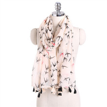 Summer new day sweet white printing swallow linen scarf art small fresh sun shade beach towel women