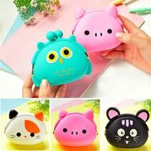 New Fashion Lovely Kawaii Candy Color Cartoon Animal Women Girls Wallet Multicolor Jelly Silicone Coin Bag Purse Kid Gift 2016