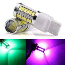 CYAN SOIL BAY Pink Purple Green 33SMD T20 5630 7440 33 LED Backup Light Canbus Error Free DC 12V Fog Bulb(China)
