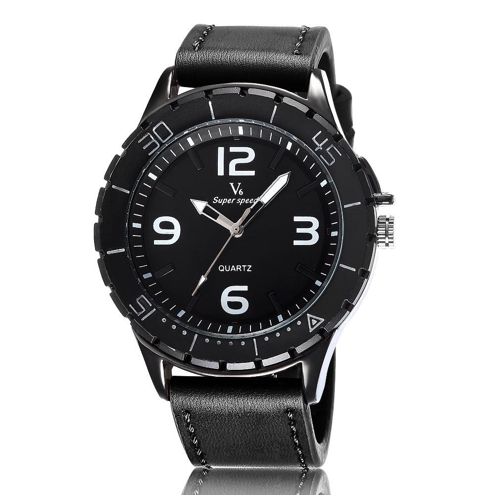V6 Fashion Sports Watch for Men Brown Leather Strap Quartz Wristwatch Analog Saati Relogio Masculino Mens Top Brand Luxury Gift<br><br>Aliexpress
