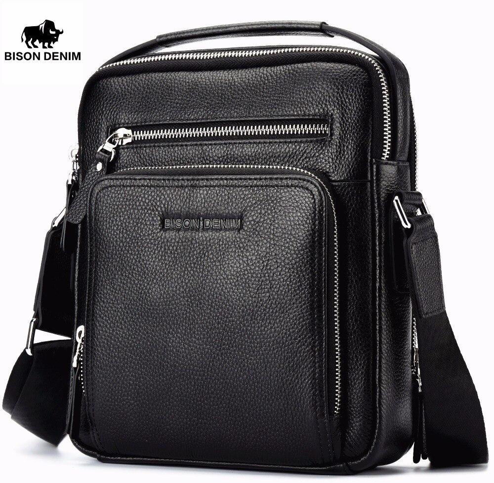BISON DENIM 2017 Genuine Leather Men Bags Ipad Handbags Male Messenger Bag Man Crossbody Shoulder Bag Mens Travel Bags 2333<br>