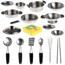 20Pcs Stainless Steel Pots Pans Cookware Miniature Toy Pretend Play Gift For Kid(China)