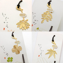 Mini Cute Kawaii Bookzzicard Gold Metal Bookmark Beautiful Plants Bookmarks for Book Gift Korean Stationery Free shipping 737