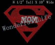 Free shipping hotfix Rhinestone transfer  motif Rhinestone Iron On Transfer super hero sport logo