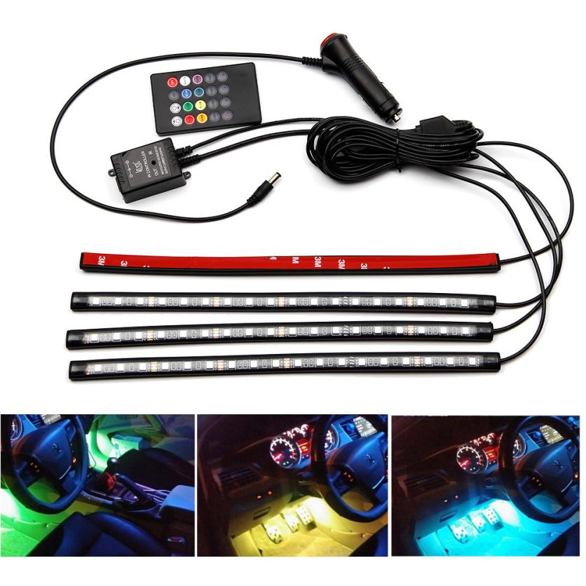 New Arrival Car Charge Interior RGB Light Accessories Foot Car Decorative LED Light Remote dr12<br><br>Aliexpress