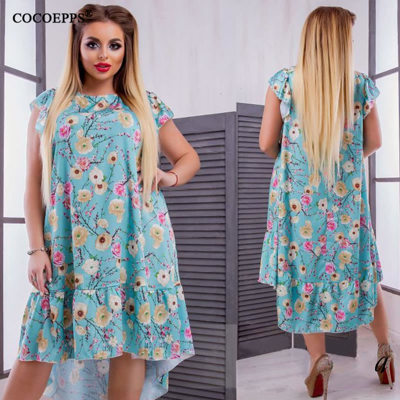 2018 L-6XL Summer Plus Size Women Dress Flower Print Large Size Fashion Dresses Casual Women Clothing Big Sizes Dress Vestidos 44