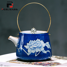 200ML Vintage Jingdezhen Ceramic Blue and White Porcelain Blue Under Glazed Teapot with Gold Handle Ice Crack Texture Tea Kettle