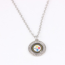 10pcs Football Fans Pittsburgh Steelers Necklaces Pendants With 50cm Chain American Football Teams Necklace Jewelry Charms