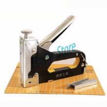3 Way Nail staple Gun with Stapler for wood furniture, door & upholstery chrome finish with 900 nails furniture stapler(China)