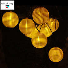 Solar Outdoor Lighting Garland Garden String Lights 20 LEDs Waterproof Lantern Nylon Cloth Guirlande Lumineuse Boule pisca pisca(China)