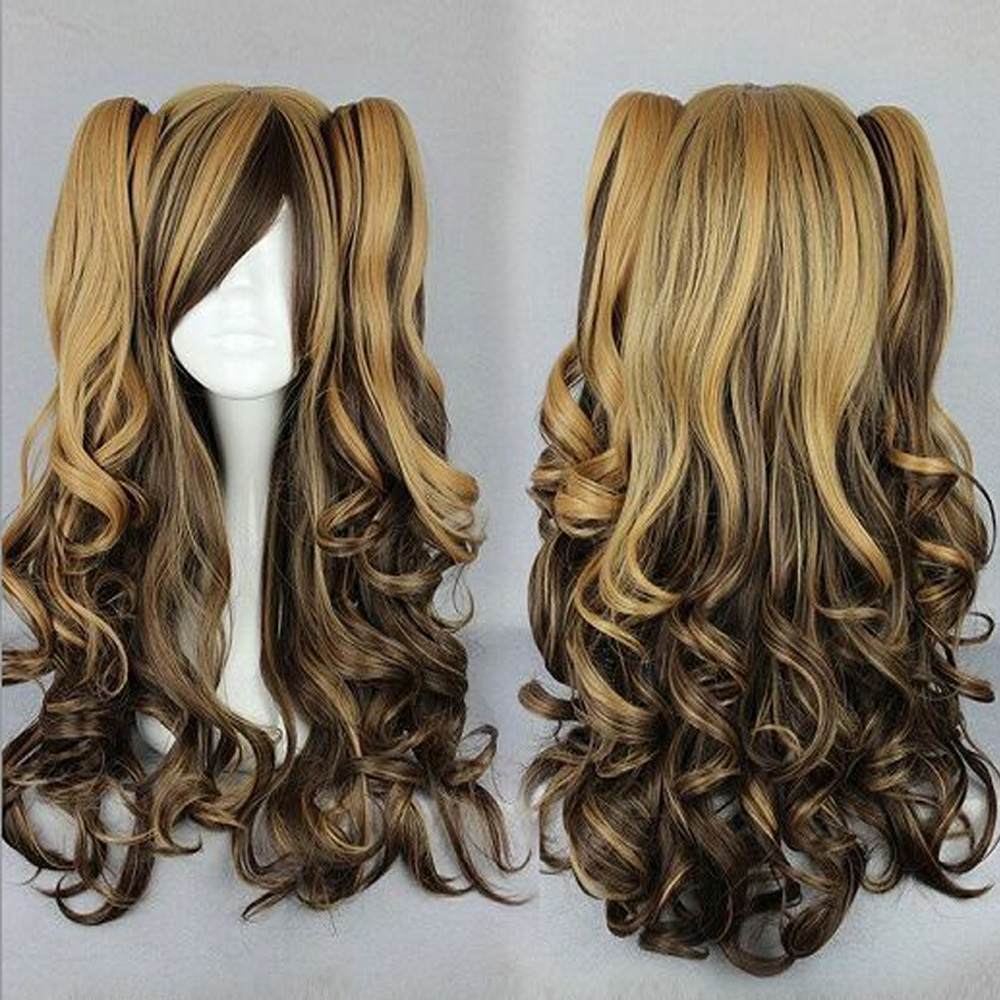 HAIRJOY  Long Charm Lolita Brown  Pink  Black Mixed Curly Cosplay Wigs+ 2 Clips on Ponytail 3 Colors Costume Wig<br><br>Aliexpress