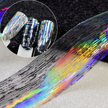 1 roll 4*100cm Laser Silver Nail Art Stickers Wrap Plastic Striped Holographic Transfer Nail Foil Decals Decoration Paper GL683(China)