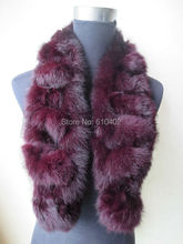Fashion Warm /Christmas gift Real   Whole rabbit fur handmade Scarf/Shawl/Wrap/Wine Red