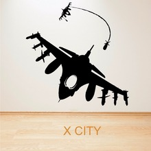 FIGHTER JET MISSILE BOMBER DOG FIGHT AIR COMBAT AIRCRAFT WALL ART STICKER VINYL TRANSFER DECAL ROOM STENCIL MURAL DECOR(China)