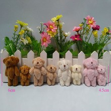 4cm to 4.5cm, 6cm Mini Stuffed Jointed Bear,Teddy Bear Long wool bears,plush toys for cartoon bouquet 4color 100pcs/lot