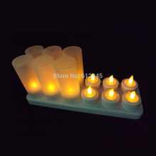 LED Rechargeable electric candle light 12 warm white color change flicking tea light candles for Home Festival Wedding Party
