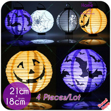 10 Pcs Halloween Paper Lantern Pumpkin Spider Bat Light 7 Pictures Hanging Lamp Props Home Bar Outdoor Party Supply Decoration