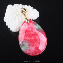 NEW 40X29MM CHINESE Red Green JADES Water Droplets Bead Pendant 1PCS