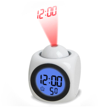 LCD Projection Clock Electronic Desk Clock No Radio Nixie table Projector Watch Talking Digital alarm Clock With Time Projection(China)
