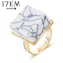 17KM New Square Stone Ring Punk Vintage Round Big Stone Rings For Fashion Women 2017 Finger Ring Jewelry Accessories