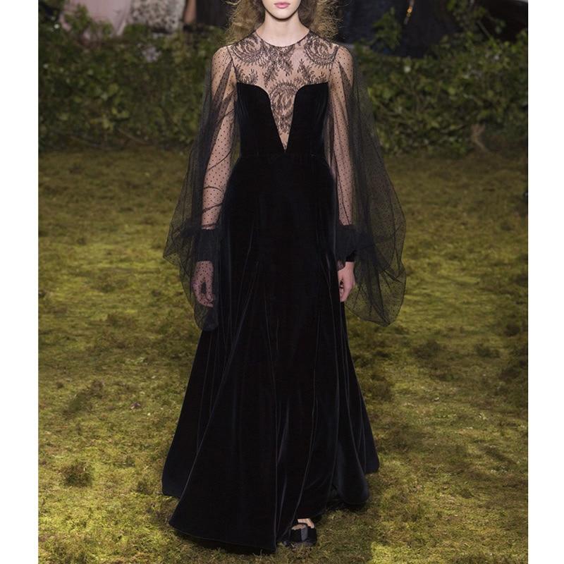 sexy black dress for women polka dot retro lace sheer long dress round neck long sleeve full length ladies runway dresses