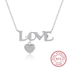 100% Real 925 Sterling Silver Heart Pendant Necklace with Zircon Valentine's Day Gift For Women Top Quality ANGELTEARS N106