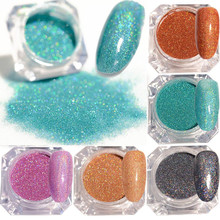 1.5g/Box Holographic Colorful Glitter Shiny Laser Nail Glitter Powder Ultra-thin 5 Colors Nail Dust Manicure Nail Glitter(China)