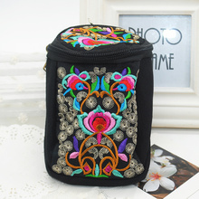 New 2016 Flower Embroidered Wallet Handmade Ethnic Flowers Tibet style Hand embroidered canvas camera phone Purse bags