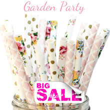 150pcs Mix Colors Garden Party Paper Straws,Gold Swiss Dot,Colorful Flower,Light Pink Damask,Floral,Tea,Wedding,Baby Shower,Bulk