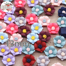 Resin vintage Mixed Color flower flatback cabochon DIY jewelry/phone decoration No Hole 50pcs 13mm(China)
