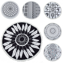 Round Tassel Tapestry Mandala Shawl Black White Geometry blanket Tablecloth Outdoor Beach towel Yoga mat carpet Wall hanging#803(China)