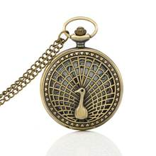 Vintage Peacock Hollow Case Pocket Watch Arab Number Dial Steampunk Pendant Necklace Chain Clock LXH