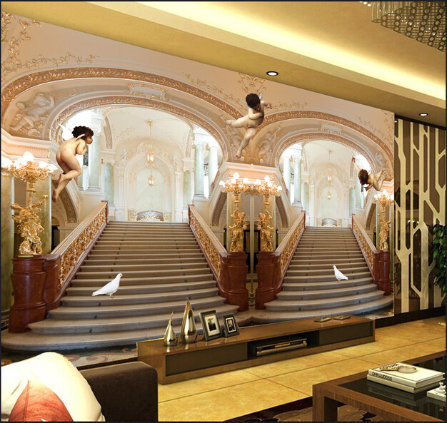 Latest custom 3D large mural,3 d angels luxury European building stairs ,living room tv background bedroom wall wallpaper<br>