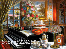 Classical Needlework Play Piano 14ct Canvas Unprinted Flower Handmade Violin Embroidery DMC Cross Stitch Kits Set DIY Home Decor(China)