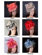 New colors arrival,Sinamay fascinator hat with feathers and veiling for Kentucky Derby church wedding party races.FREE SHIPPING