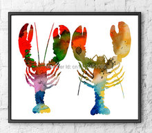 New kids children modern abstract bedroom wall art decor colorful crab lobster art sea ocean animal print painting picture art