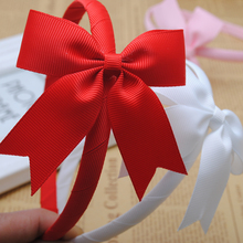 1piece 10mm high quality solid grosgrain ribbon wrapped hairbands with cheer bow girl headband hair band girls tiaras