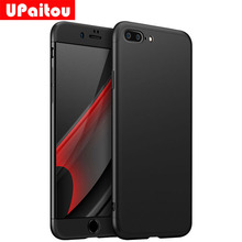 UPaitou 360 Degree Full Cover Red Cases For iPhone 8 7 Plus 5.5inch Case Luxury 3 in 1 Hard PC Cover For iPhone 8Plus 7Plus Case(China)