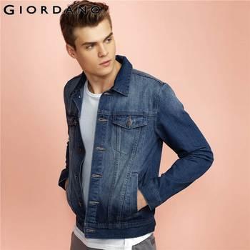 Giordano homens homens jaqueta jaqueta jeans de mangas compridas outerwear multi-bolsos 2017 erkek clothing mont marca de jeans homens jaqueta