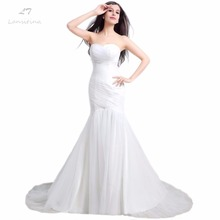LANSITINA In Stock Sweetheart Pleat Lace-up Back Mermaid Sweep Train White Ivory Wedding Dresses Bridal Dress