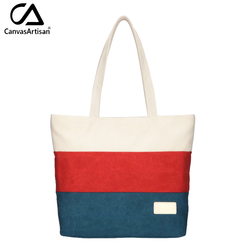 Canvasartisan Brand New Women Canvas Handbag Top-handle Strip Shoulder Bag Female Daily Travel Tote Shopping Purse Hand Bags<br><br>Aliexpress