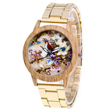 Women Personality Imitation Wooden Wrist Watch Flower Bird Pattern Fashion Steel Band Clock Luxury Quartz Female Gift Watch